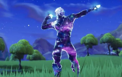 A Fortnite character poses in a taunting pose.
