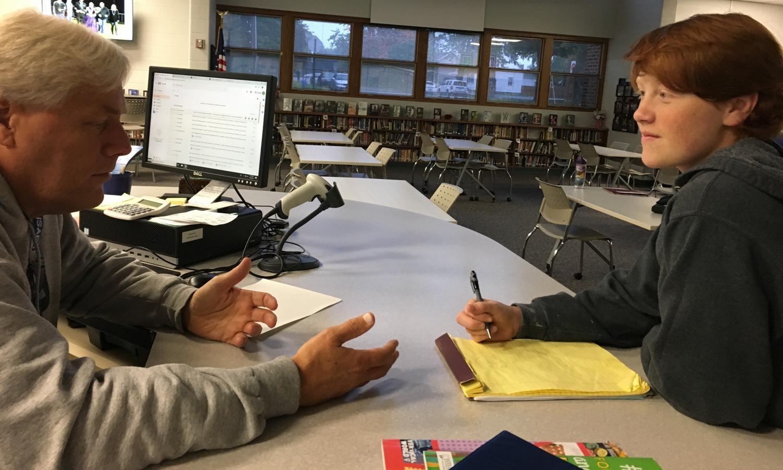 Logan Koutz gives his teacher Mr. Knauf a grade on how he's teaching.
