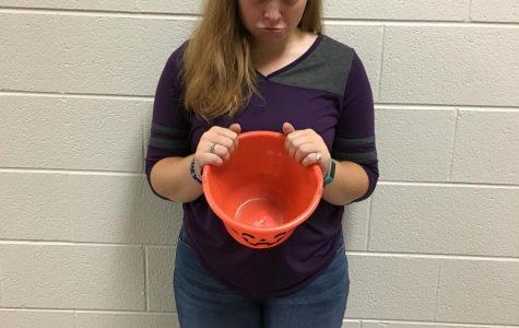 Lauren Sherwood is dismayed at the sight of her empty bucket