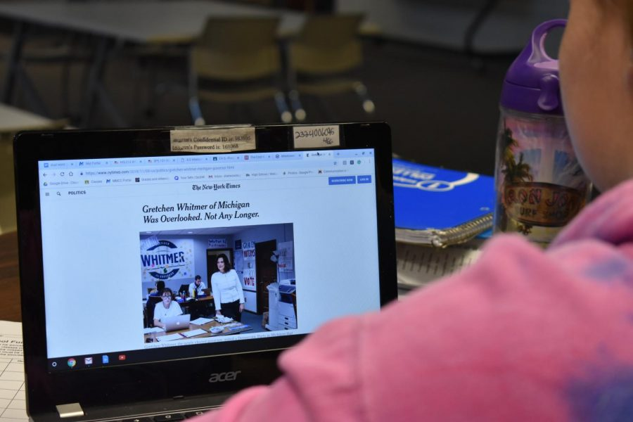 SLHS student researches candidates in the election.