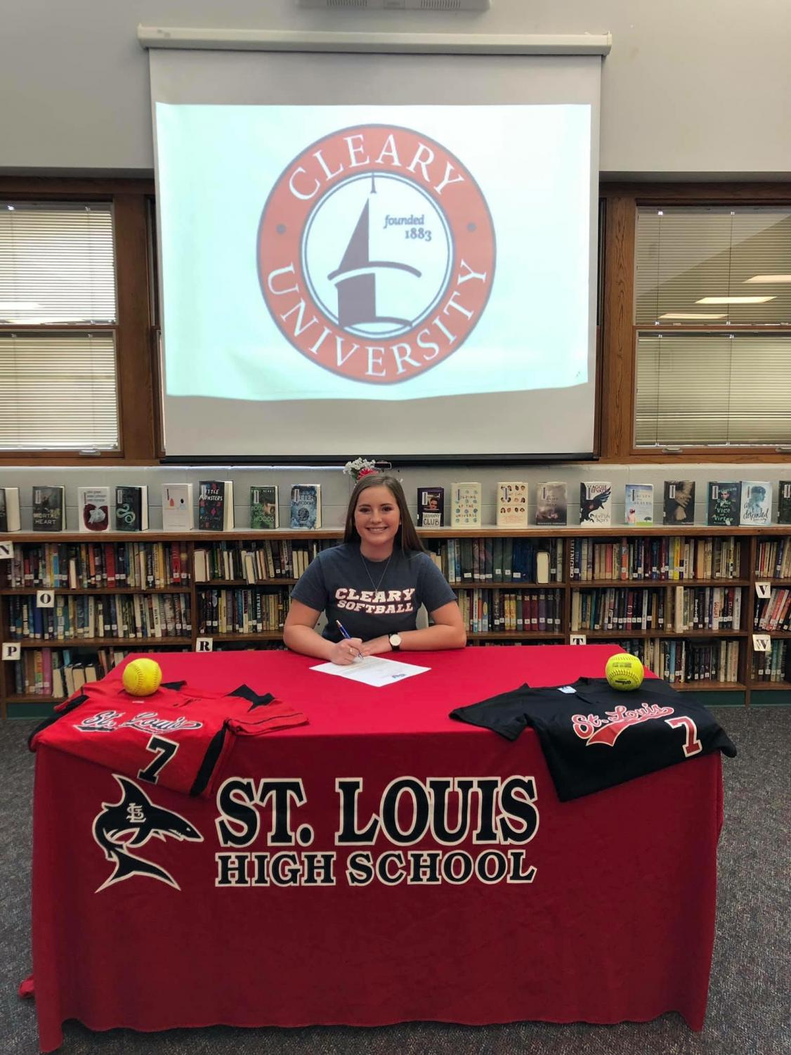 Alexis Beeson signed to play softball with Cleary University Jan. 10.