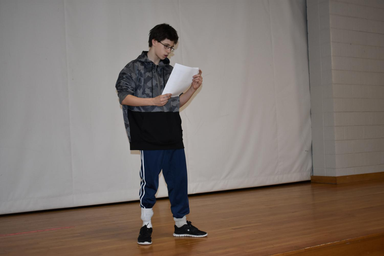 Robert Long-Terwilliger rehearses his lines for his part in the upcoming play.