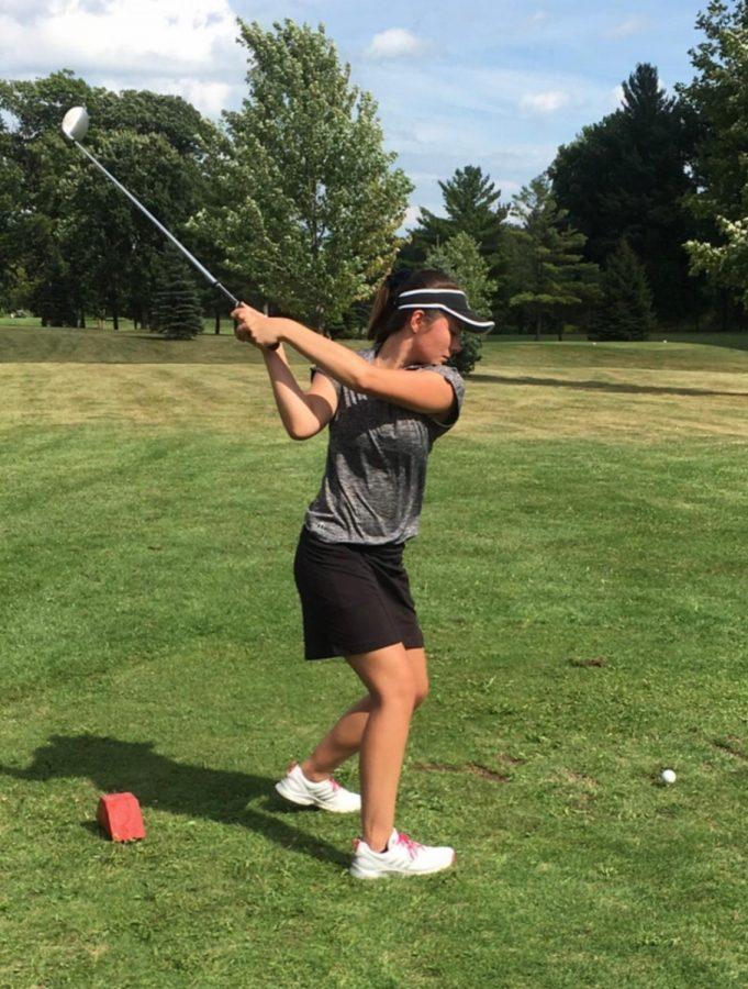 Alexandra Pawlitz prepares to hit the ball.