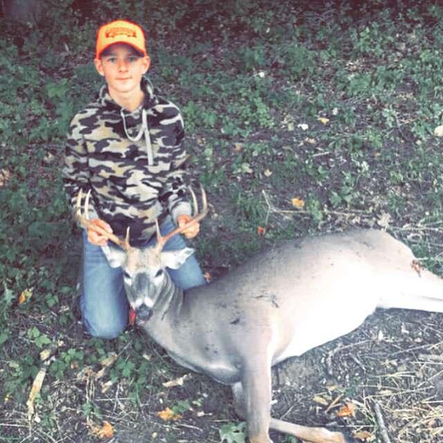Ashton Leonard shot an eight-point buck.