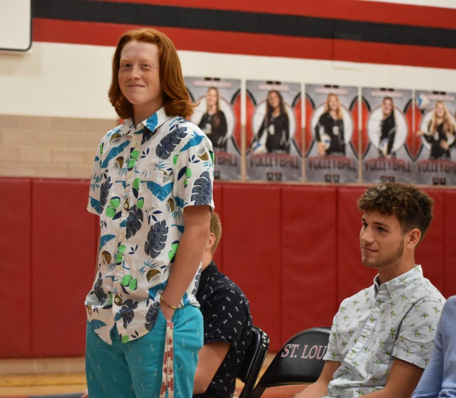 Junior nominees Logan Koutz (left) and Cade Pestrue (right) get recognized in front of their peers.