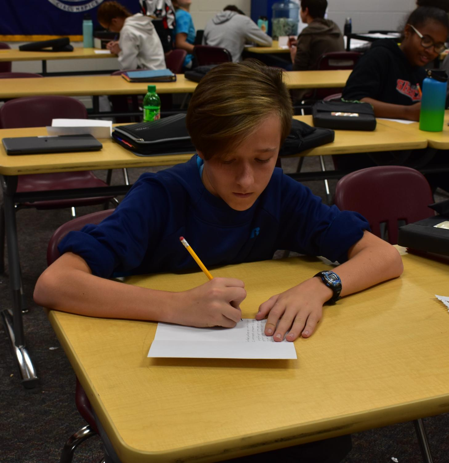 Freshman Dominic Gilman has transitioned well by working hard in all his classes.