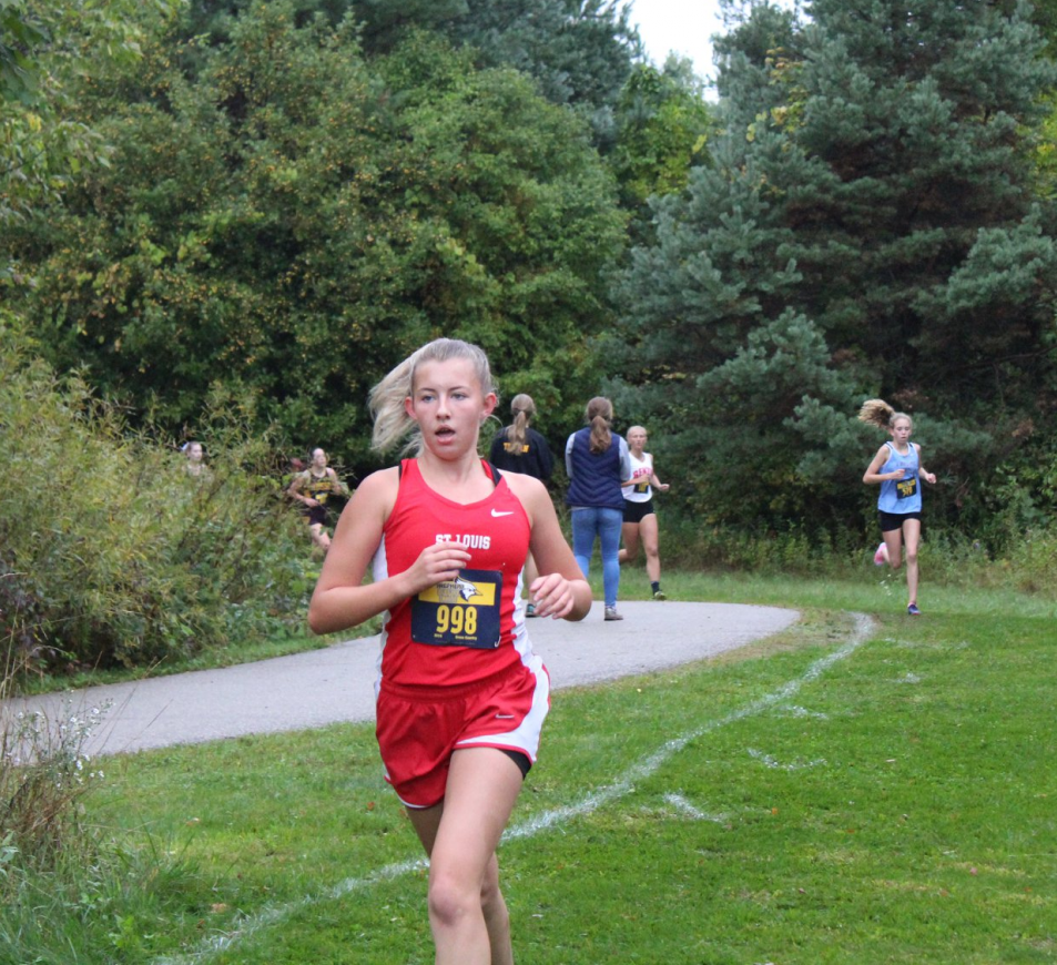 Brooke Erskin pushed herself to finish first in the JV race with a time of 21:29.1.