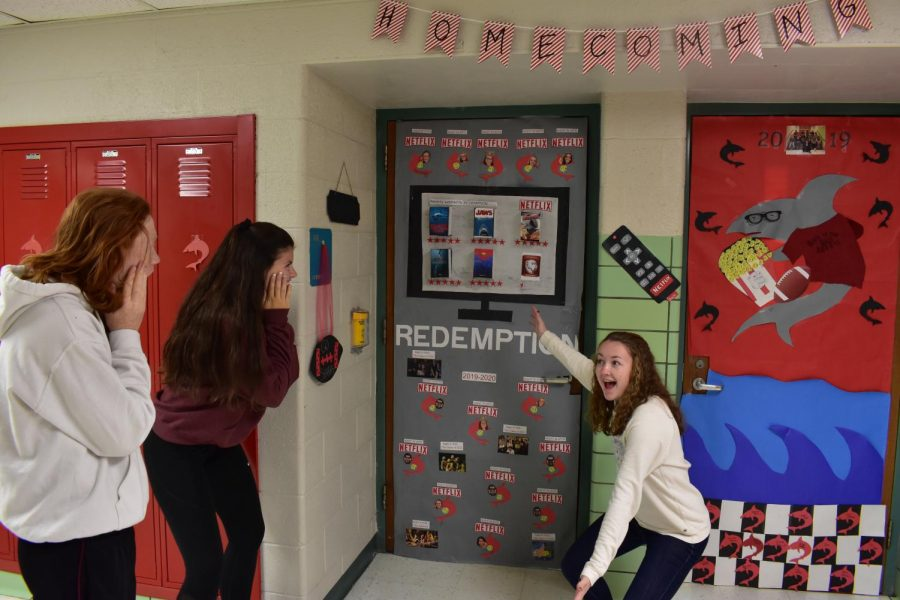 Allyse March shows off Mrs. Dubridge's winning door to impressed students.