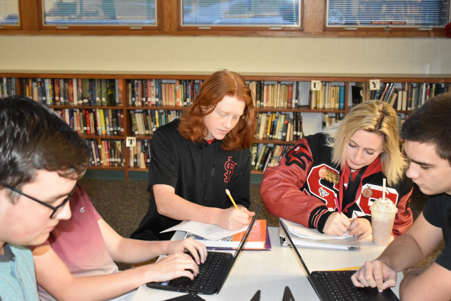 Several SLHS students cram for semester one exams.
