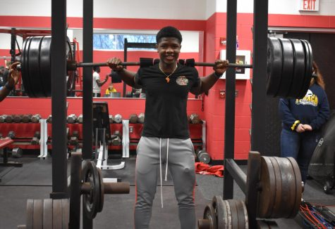 Ben Dousuah is hard at work on his resolution to get in the weight room.