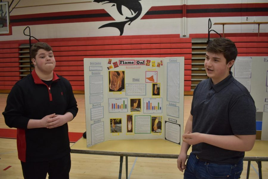 Dylan Head (left) and Jake Dice (right) present their project