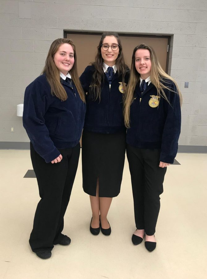 Three+St.+Louis+FFA+members+competed+recently.+From+left+to+right%3A+Skylar+Rodriguez%2C+Julia+Hawley%2C+and+Jennifer+Brown.
