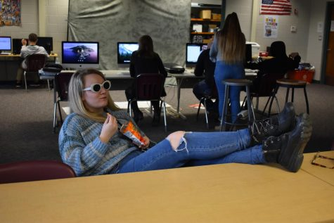 Senior Taylor Marr kicks back and embraces her Senioritis.