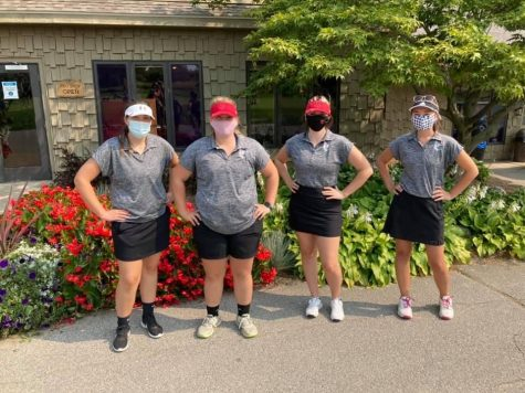 The Sharks had a third-place finish. From left to right: Mackenzie Strong, Skylar Rodriguez, Chloe Baxter, and Alexandra Pawlitz.