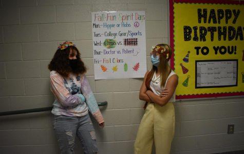 Mackenzie Smith (left) and Kiersten Wenzlick (right) participating in spirit week.