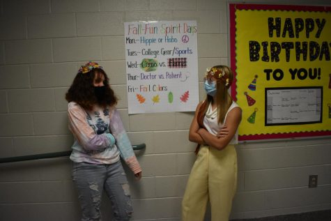 Mackenzie Smith (left) and Kiersten Wenzlick (right) participating in spirit week.