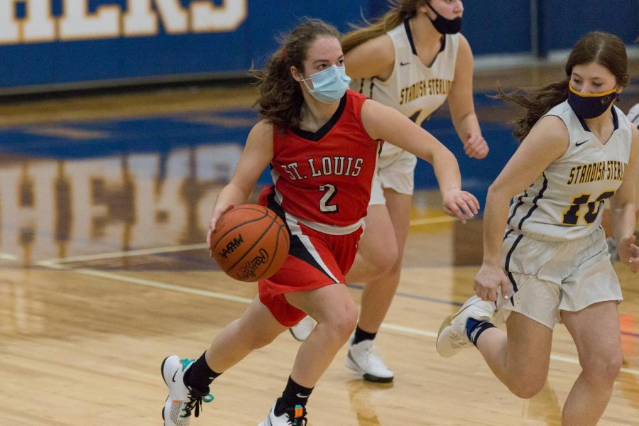 Laney Pestrue dribbles the ball while surveying the court, looking for open teammates.