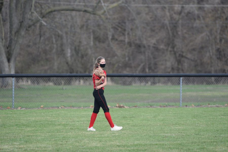 Monika Borie waits patiently in the outfield.