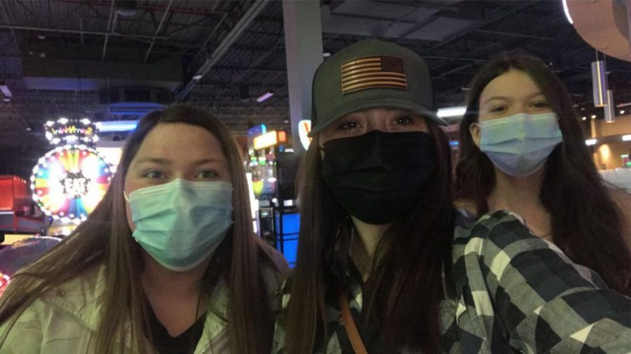 Seniors Faith Best (left), Autumn Bradbury (middle), and Brooke Barrett (right) participated in senior skip day at Dave and Busters.