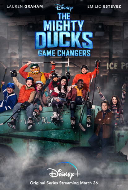 The+Mighty+Ducks%3A+Game+Changers+is+advertised+on+Disney+Plus.+