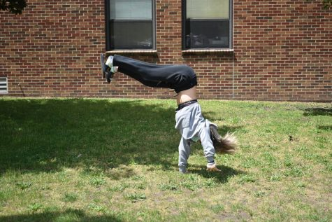 SLHS student practices her tumbling for tryouts!