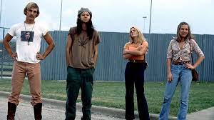 Dazed and Confused cast poses for a set photo