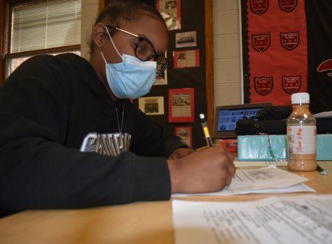Jaszmin Harbor works hard while preparing for her exams.