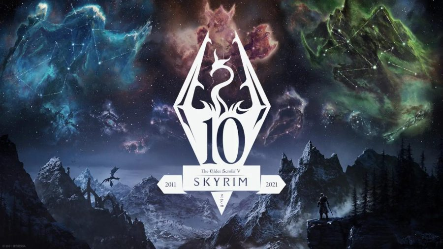 A Skyrim 10th anniversary promotional image