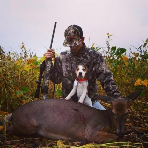 Ashton Leonard and his lucky companion with their  youth hunt doe.