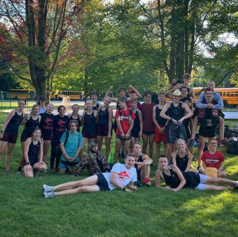 Cross Country team poses after great win at the Imerman Park TVC.