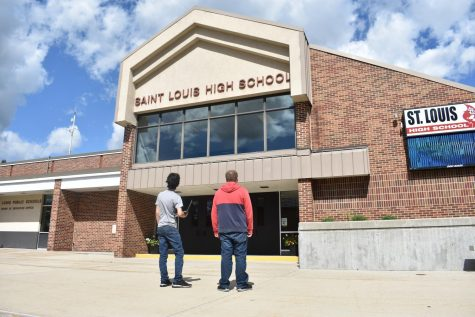 Students reflect on return to school outside of SLHS building.