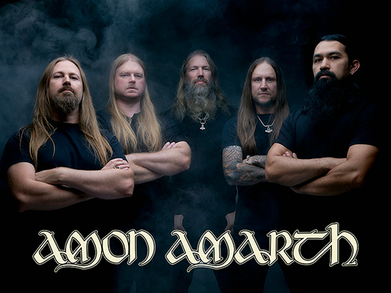 This is Amon Amarth, the photo showcases the band members and their band name.